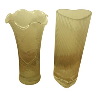 Heart Design Glass Vases - A Pair