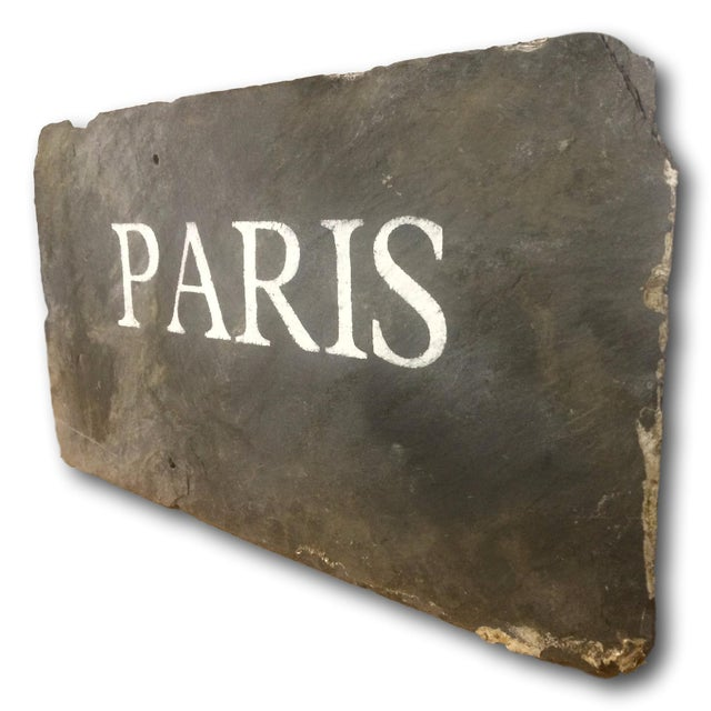 "Antique Slate Tile ""Paris"" Sign - Image 3 of 4"