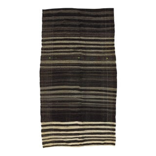 Vintage Black, Gray and White Striped Turkish Kilim Rug - 6′7″ × 11′10″