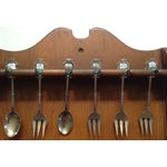 Image of Italian Collectors Spoons in Wood Wall Rack- Set of 18