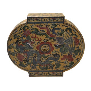 Chinese Yellow Lacquer Dragon Box