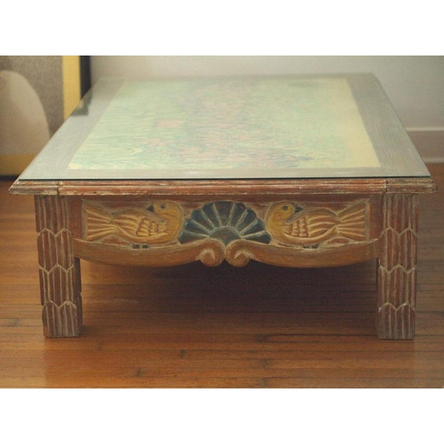 mexican painted furnitureDisenos Caaesa Mexican Painted  Carved Coffee Table  Chairish