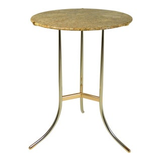 Cedric Hartman Side Table, Steel and Brass Base