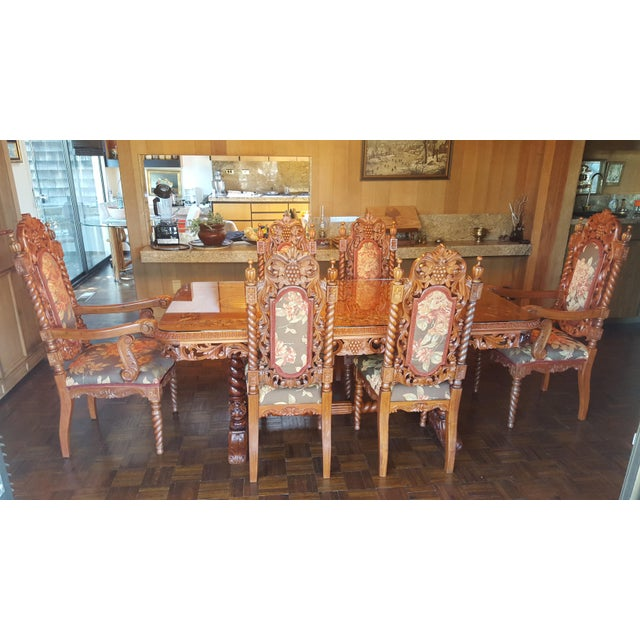 Rare Antique Narra Wood Dining Set - Image 2 of 11