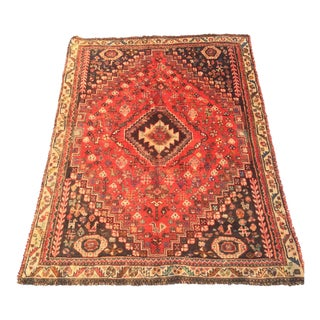 """Vintage Qashghi Persian Rug - 3'6""""x4'10"""""""
