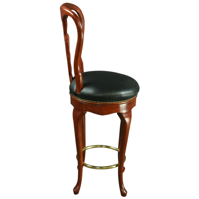 Queen Anne New Bar Stools Mahogany/Faux - A Pair - Image 6 of 6