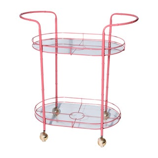 Coral Pink Metal Tea Cart