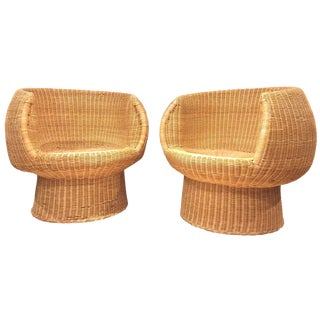 Vintage Rattan Wicker Pod Chairs - A Pair