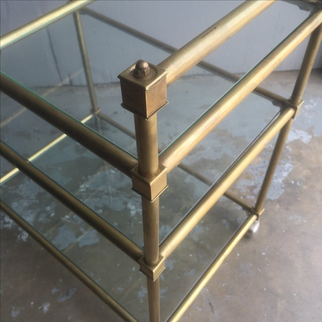 Vintage Mid Century Brass Bar Cart - Image 6 of 6