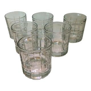 Vintage Plaid Patterned Crystal Lowball Glasses - Set of 6