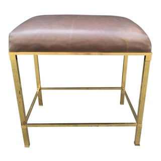 Brass Directoire Style Bench with Leather Seat