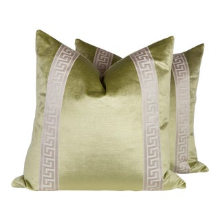 Citrine Velvet Greek Key Pillows - a Pair