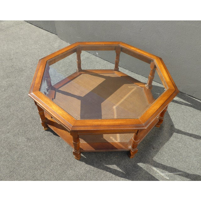 Mid Century Octagon Beveled Glass Top Coffee Table - Image 4 of 9