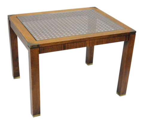 Brandt Campaign Style Cane Wood, Brass U0026 Glass Rectangular End Table