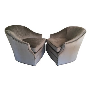 Milo Baughman Style Gray Velvet Swivel Club Chairs - A Pair