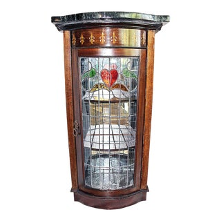 Narrow Leaded Glass Vitrine