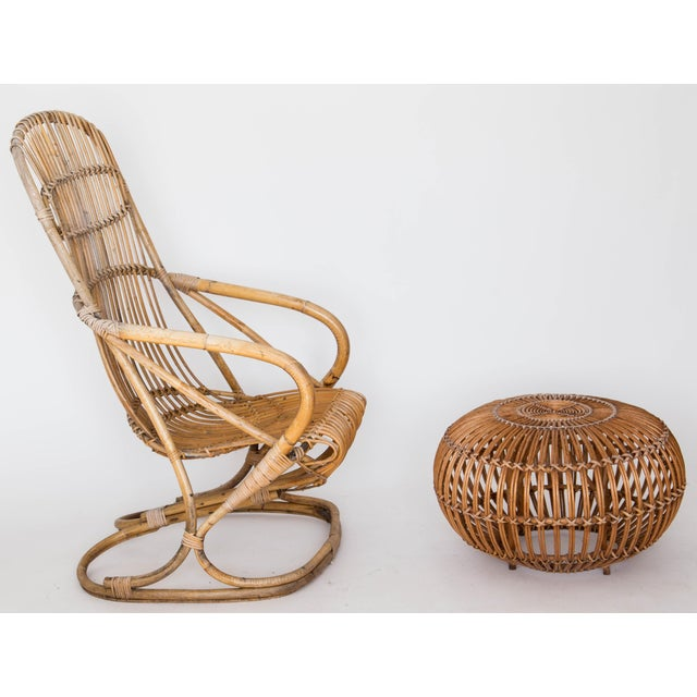 Franco Albini Rattan Lounge Chair & Ottoman - Image 2 of 11