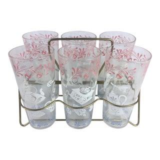 1950s Drinking Glasses & Holder - Set of 6