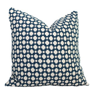 "20"" x 20"" Schumacher Betwixt in Indigo Decorative Pillow Cover"