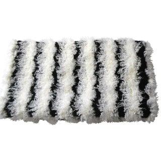 Black & White Stripe Mongolian Raya Faux Fur Throw