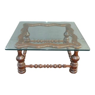 Vintage Spanish Style Glass Top Turned Wood Coffee Table