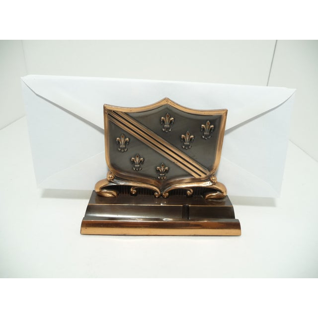 French Fleur De Lis Copper Finish Letter Holder - Image 3 of 7