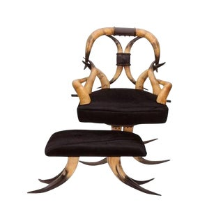 19th-C. Steer Horn Chair & Ottoman