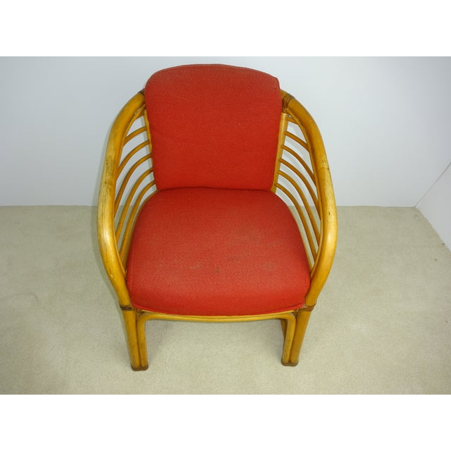 Mid-Century Deco Stylized Rattan Arm Chair - Image 6 of 10
