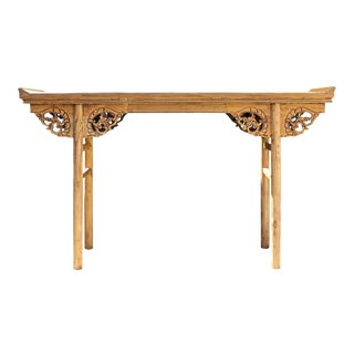 Chinese Raw Wood Dragon Carving Altar Console Table