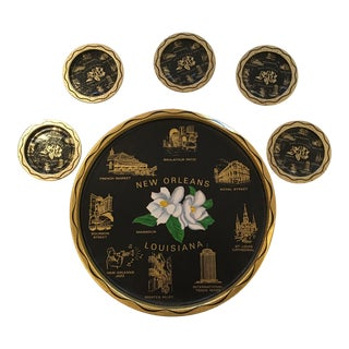 Vintage New Orleans Tray and 5 Coasters