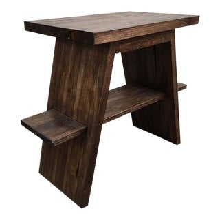 Teak Wood Vanity Pedestal Side Table