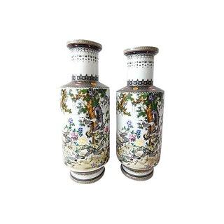 Porcelain Famille Rose Crane Vases - A Pair