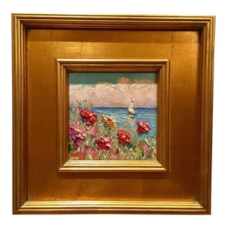 """French Wild Flowers Seascape Abstract"" Original Oil Painting on Tile by Sarah Kadlic"