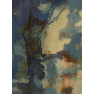 A Moody American 1960's Abstract Oil Painting Entitled 'Blue Giant' signed C. Burger '61'