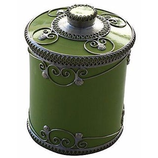 Pistachio Ceramic Jar With Silver Inlay