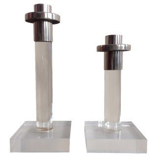 Dorothy Thorpe Lucite Candleholders - A Pair