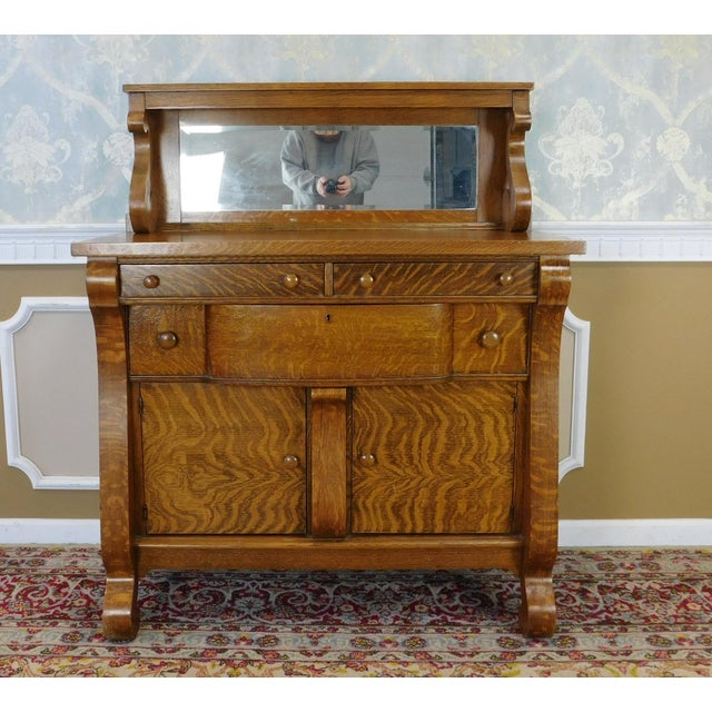antique victorian tiger oak empire style sideboard chairish. Black Bedroom Furniture Sets. Home Design Ideas