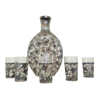 Antique Japanese Sterling Silver Overlay Whiskey Set