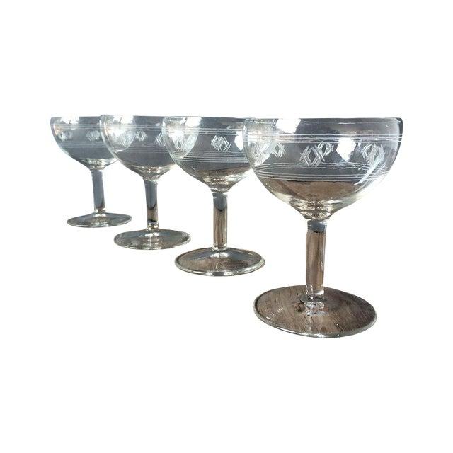 Image of Vintage 1940s Etched Champagne Glasses - Set of 4