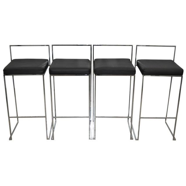 Vintage Chrome & Vinyl Chairs C.1970 - Set of Four - Image 1 of 4
