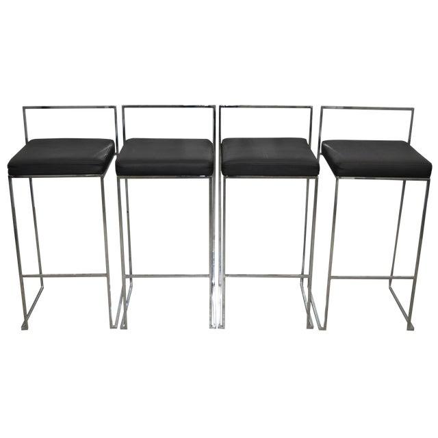 Image of Vintage Chrome & Vinyl Chairs C.1970 - Set of Four