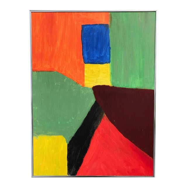 1980s Abstract Pink Green and Orange Painting - Image 1 of 4