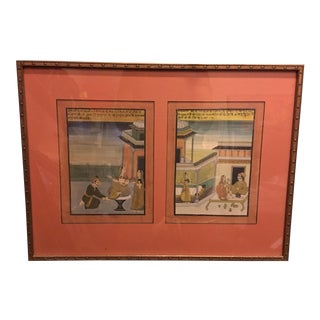 19th Century Mughal Framed Diptych Painting