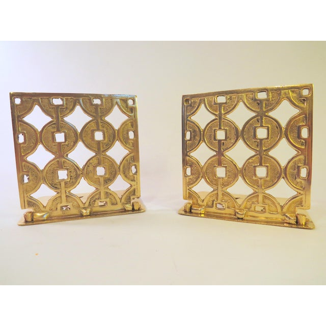 Image of Vintage Art Deco Geometric Brass Shelf Bookends