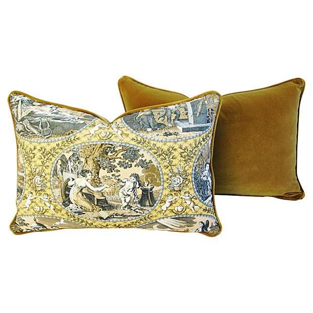 Custom Scalamandre Cupido Toile Pillows - A Pair - Image 3 of 5