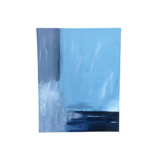 Original Abstract Blue Oil Painting on Canvas