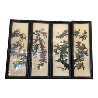 Classic Chinese Inlaid Stone Panels - Set of 4