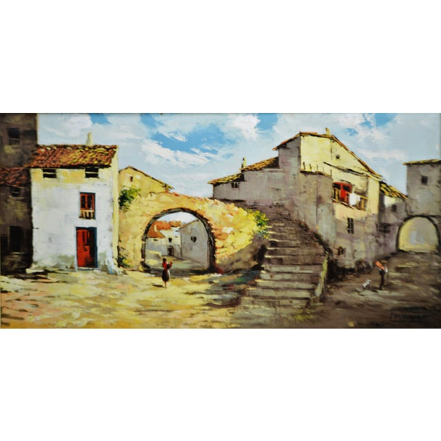 Framed European Village Scene Oil Painting | Chairish