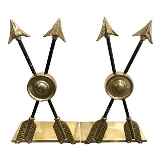 Vintage Arrow & Target Brass Bookends - A Pair