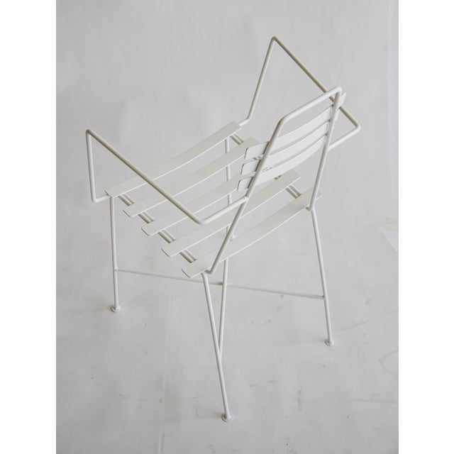 Mid-Century Slatted Wrought Iron Chair - Image 7 of 7